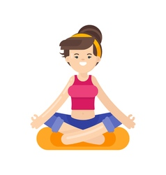 Flat style of woman doing yoga vector