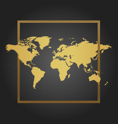 Golden political world map in black background vector