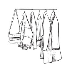 Hand drawn wardrobe sketch Clothes vector image vector image