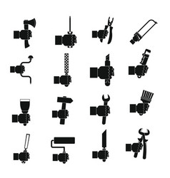 Hand tool icons set building simple style vector