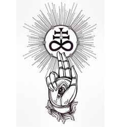 Handwith eye of providence and satanic cross vector