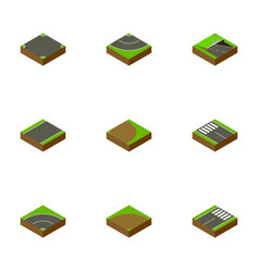 Isometric road set of footer underground strip vector