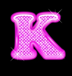K letter pink bling girly vector image vector image