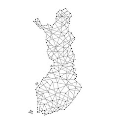 Map of finland from polygonal black lines vector