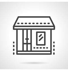 Market storefronts black line icon vector