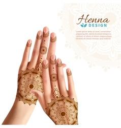 Mehndi henna woman hads realistic design vector