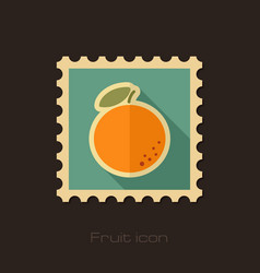 orange flat stamp tropical fruit vector image