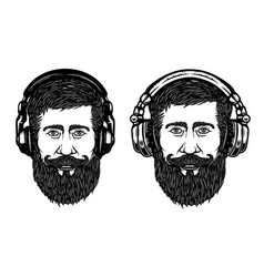 set of hipster head with headphones design vector image vector image