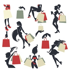 shopping collection vector image vector image