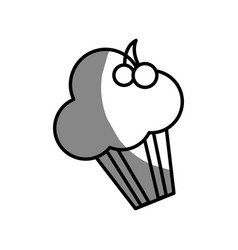 Silhouette delicious muffin with cherry fruit vector