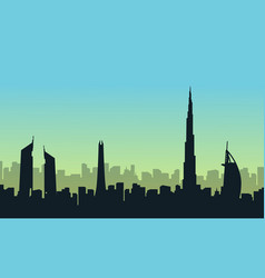 silhouette of dubai style scenery vector image