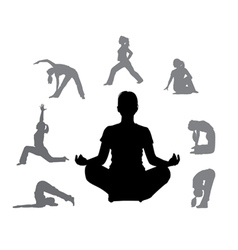 silhouettes of yoga 3 vector image