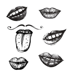 Smile and Mouth Drawing Collection vector image vector image