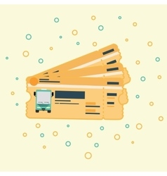 Stack of bus ticket flat drawing vector