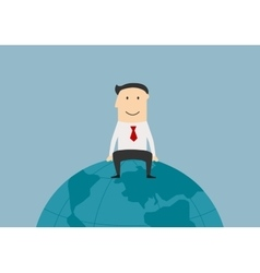 Successful businessman sitting on the earth globe vector image