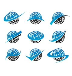 Swoosh Globe World Logo Icons vector image