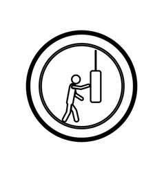 Symbol person knocking punching bag vector