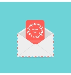 Thank you card in an envelope vector image