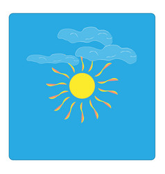 the sun and cloudlet sign on blue background vector image