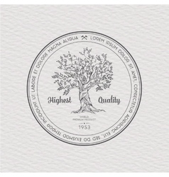 Vintage label with tree vector image
