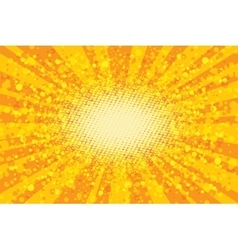 Yellow abstract pop art background retro rays vector