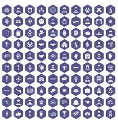 100 handshake icons hexagon purple vector