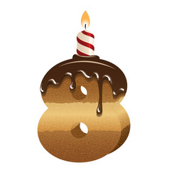 Birthday cake font - number eight vector
