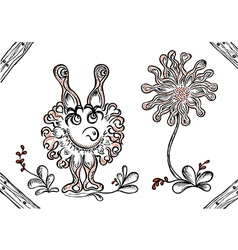 Fantasy monster with flower vector image