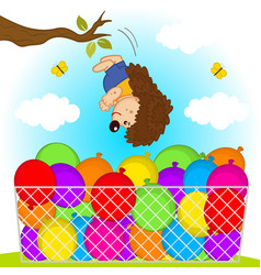 Hedgehog jumps in balloons vector