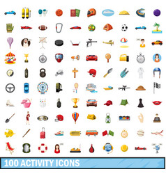 100 active icons set cartoon style vector image