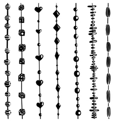 String of beads set black and white vector
