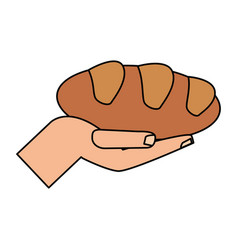 Hand holding bread multiplication religion vector
