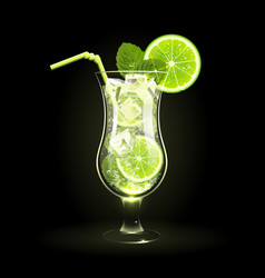 Mojito cocktail with lime and mint leaves vector