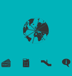 earth globe in strong chain icon flat vector image