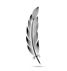 Black and white contour feather engraving vector