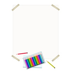 Colored pencils in a box on white paper vector