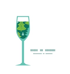 Holiday christmas trees wine glass silhouette vector