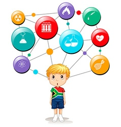 South african boy with science symbols vector