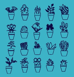 House plants in pots hand-drawing icons vector