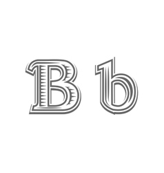 Font tattoo engraving letter b vector