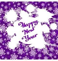 White ink splashes over violet snowflakes vector