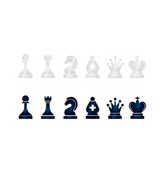 Glossy black and white chess icons on white vector