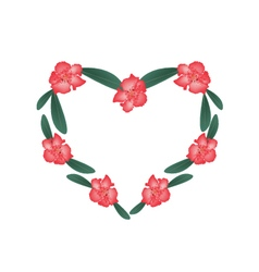 Red rhododendron flowers in a heart shape vector