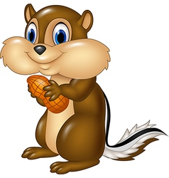 Cartoon chipmunk holding peanut isolated vector