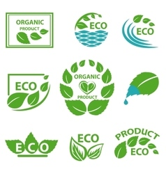Organic products leaflet water logo vector