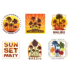 Exotic travel backgrounds with palm trees vector