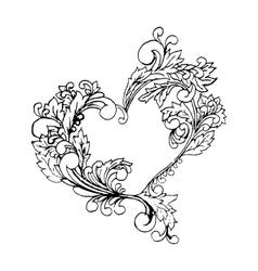 Boho style black line art original heart frame vector