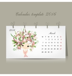 Calendar 2016 marchmonth season girls design vector