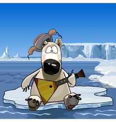 Cartoon polar bear sitting on an ice floe vector