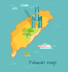 Cartoon taiwan map with famous tuntex sky tower vector